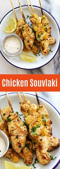Chicken Souvlaki – juicy and moist grilled Greek chicken souvlaki recipe made with garlic, yogurt, lemon and olive oil. The best chicken on a stick ever | rasamalaysia.com