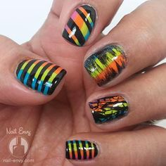 Multicolored Nails with Black Contrast by Nail Envy