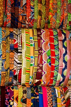 Ghanaian cloth. in Ghana. The colors are so bright and the patterns are eccentric.