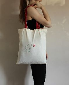 Creative dragon tote bag with long fire red stitched handles/ hand painted bag/ handbag/ shopping bag/ market bag/ selfmade design/ Red Turquoise, Market Bag, Handmade Design, Shopping Bag, Totes, Reusable Tote Bags, Dragon, Hand Painted, Fire