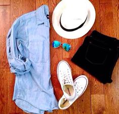 Chambray Shirt; Black Shorts; White Converse; Fedora; Aviators; Summer