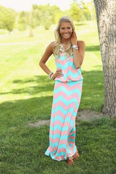 Modern Vintage Boutique - Slinky Chevron One Piece Maxi Mint and Peach, $42.00 (http://www.modernvintageboutique.com/slinky-chevron-one-piece-maxi-mint-and-peach.html)