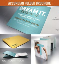Accordian Folded Brochure: An 8-panel accordian fold printed on pearlized paper with UV ink and inserted into gold pearlized envelopes. Designed by UW Health Marketing. #directmail #folding
