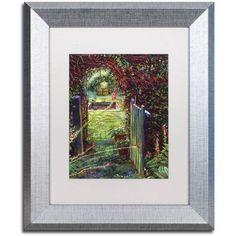 Trademark Fine Art Wicket Garden Gate Canvas Art by David Lloyd Glover, White Matte, Silver Frame, Size: 16 x 20