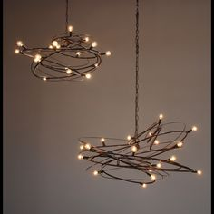 Nebulla: Sculptural steel chandelier - think reclaimed christmas light strands and found wire! Diy Luminaire, Luminaire Design, Lamp Design, Wire Chandelier, Pendant Lighting, Custom Lighting, Lighting Design, Fairy Lights, Light Decorations