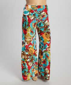 Look what I found on #zulily! Blue & Coral Abstract Floral Palazzo Pants - Plus by CANARI #zulilyfinds