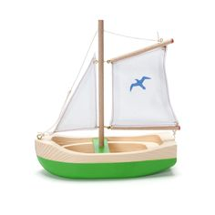 "Jaunty sailboat: 6¾"" tall, 6¼"" long, $22, looks like an Ogas boat."