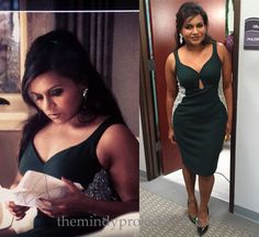 Mindy's party dress for the Christmas episode of The Mindy Project is a Salvador Perez original with curve enhancing beaded panels, a sweetheart neckline and a seriously sexy cutout detail.