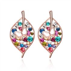 Women's Earrings 18K Rose Gold Filled Zircon Colorful Leaf Ear Stud Hot 2017