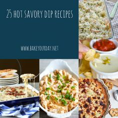 25 Hot Savory Dip Recipes from Bake Your Day. So good for parties and get-togethers! Recipes Appetizers And Snacks, Dip Recipes, Appetizers For Party, Baking Recipes, Football Food, Baked Chicken Recipes, Game Day Food, Love Food, Sauces