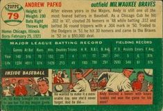 1954 Topps #79 Andy Pafko Back