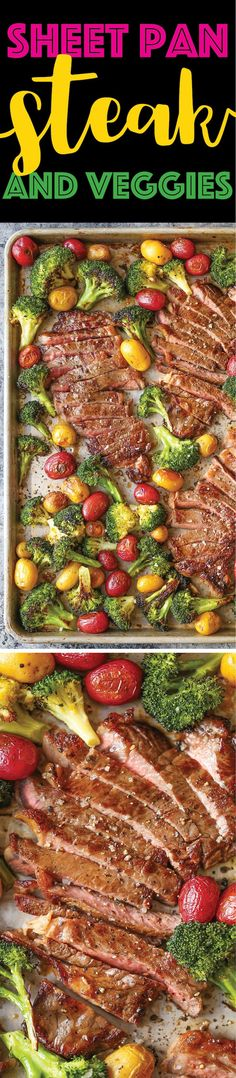 Sheet Pan Steak and Veggies Perfectly seasoned melt-in-your-mouth tender steak with potatoes and broccoli. All made on 1 single sheet pan! EASY CLEAN UP! Steak and veggies. (more) The post Sheet Pan Steak and Veggies appeared first on Damn Delicious. Supper Recipes, Easy Dinner Recipes, Meat Recipes, Easy Meals, Cooking Recipes, Healthy Recipes, Recipies, Quick Recipes, Easy Cooking
