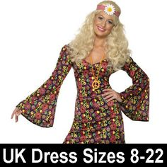 Adult CND Hippy Groovy Baby Fancy Dress Costume 70s Ladies Women Female
