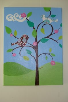 Tree, Cloud, Flowers and a bird painting