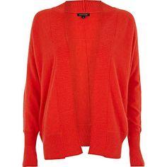 Bright red unfastened dolman cardigan €30.00 Cable Knit Cardigan, Shoulder Cut, Snug, River Island, Fashion Forward, Knitwear, Bright, Lady, Sweaters