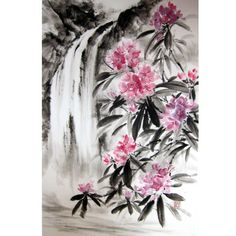 Japanese Ink Painting, Sumi-e, Suibokuga, Landscape, Rice paper painting, Pink Black,Large 18x28' ,Waterfall and Rhododendron - pinned by pin4etsy.com