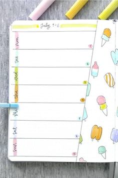 Whether you want to change up your bujo weekly spread or monthly cover. these ice cream themed bullet journal spreads will give you some inspiration to get started! Bullet Journal Month, Bullet Journal School, Bullet Journal Notebook, Bullet Journal Hacks, Bullet Journal Themes, Bullet Journal Spread, Bullet Journal Layout, Arc Notebook, Bullet Journel