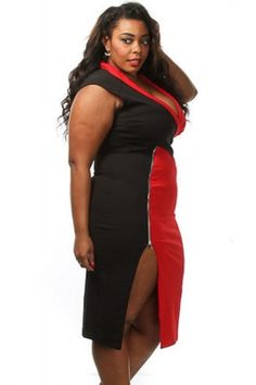 244bde12555 Red Black Colorblock Side Slit Curvy Midi Dress Red Black