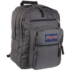 JanSport Big Student (Forge Grey) Backpack Bags ($46) ❤ liked on Polyvore featuring bags, backpacks, strap backpack, shoulder strap backpack, polyester backpack, pocket backpack and grey backpack
