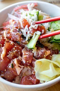 Poke Bowl with Spicy Ahi Tuna | thecozyapron.com