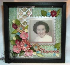 Beautiful Mother's Day shadow box featuring paper flowers