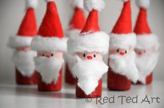 Cute little Santa ornaments - quick and fun to make. But will you make them into Tree Ornaments.. or let the kids loose on some Santa Bowling?!?! via www.redtedart.com