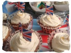 Lemon Cupcakes by Leo with the addition of the union jack flags from the kit. Longest Recipe, Lemon Cupcakes, Union Jack, Flags, Birthday Candles, Leo, Baking, Desserts, Recipes