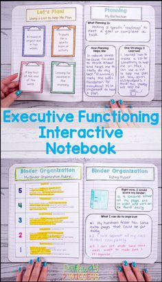 Teach executive functioning skills to kids and teens with an interactive notebook. Young adults will color, cut, and put together School Organization For Teens, Notebook Organization, Organization Skills, Special Education Activities, Education Center, Higher Education, Physical Education, Education Galaxy, Education Issues