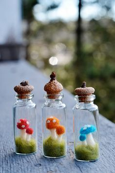 Toadstool Terrariums - Miniature Mushrooms - Felted Wool - Botanical Decor - Glass Bottle - Nature Lover Gift - Unique Valentine Gift