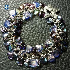 ♥ Stunning Mixed Colors Czech Glass Petals & Plated Silver Bracelet