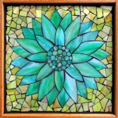 "Student Work - Framed Stained Glass Mosaic Water Lily 12"" x 12"" created by Kyle in the Stained Glass Mosaic Flower Workshop with Artist Kasia Polkowska - Next Class May 17-18 and June 14-15, 2014 in Boulder Colorado"