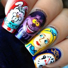 Alice in Wonderland nail art by  pandasnails