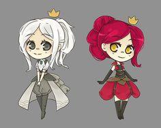 Steampunk Alice in Wonderland. White Queen and Red Queen.