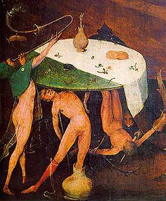 Les Tentations de saint Antoine, Jérôme Bosch, détail du panneau central. Parmi toutes les tentations diaboliques utilisées pour détourner st Antoine de ses médiations spirituelles, nous observons ici des démons dansant nus autour d'une table sur laquelle se trouvent du pain et un broc d'où sort un pied de porc, symbole maléfique. Ils symbolisent le péché de la gourmandise.