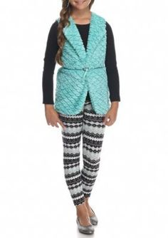 Beautees Mint Vest and Printed Legging 2-Piece Set Girls 7-16