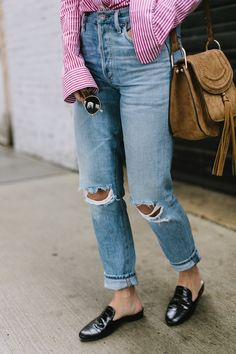 Distressed Denim | Tuckernuck Striped Button Down Shirt | Black Leather Slides