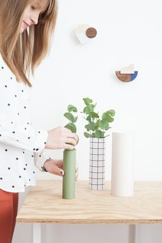 DIY vases collection made with cardboard tubes - Heju