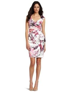 Maggy London Womens Side Ruched Printed Satin Dress $148.00
