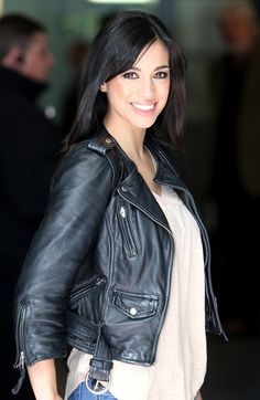 Emmerdale's Fiona Wade leaves the London Studios in a black biker leather jacket, white blouse and jeans.