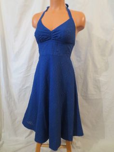 J CREW Seersucker Halter Dress - $29.99 at JOHNNY BOMBSHELL #jcrew #retro #seersucker #blue
