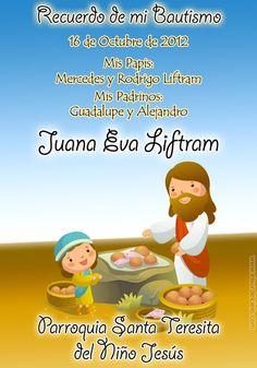 Baptism invitation card. Tarjeta invitación para bautismo. www.elsurdelcielo.com/