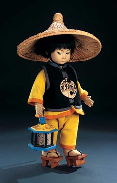 Lot: 31. Italian Felt Character Chinese Boy by Lenci with Rare Original Lantern 1930 #Lenci