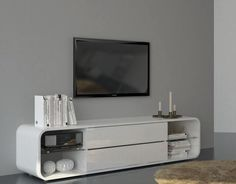 Viper, Modern Curved TV Cabinet With Drawers in White Gloss Finish, Lights Included