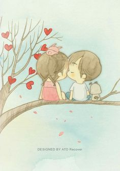 """Joy over Tree of Love"" Love Cartoon Couple, Chibi Couple, Cute Cartoon, Cute Love Stories, Baby Illustration, Couple Drawings, Cartoon Wallpaper, Anime Art Girl, Cartoon Drawings"
