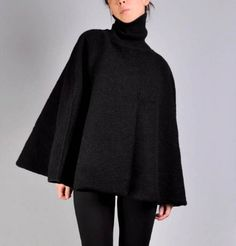 Black Boiled Wool Cape by MaevenOnEtsy on Etsy