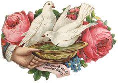 Victorian scrap - love birds