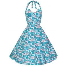 'Myrtle' Vintage 1950's Petal Bust Halter Neck Floral Swing Dress ($34) ❤ liked on Polyvore featuring dresses, turquoise pink floral, blue cocktail dress, cocktail party dress, long dresses, long blue dress and blue skater skirt