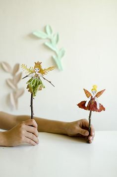 """Are you looking for a nature project to make with kids? Make Fairy Leaf Puppets. Can you resist the charms of an Autumn leaf? Everything about them sets my imagination spinning and my pockets full.  Let's get """"leafy"""" today! Inspired by imagination, fueled with imagination, make Leaf Fairy Puppets or use these as Leaf"""