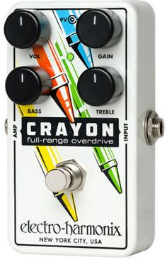 The Crayon is a versatile overdrive with independent Bass and Treble controls and an open frequency range that provides players with a musical alternative to customary mid-focused overdrive pedals. It