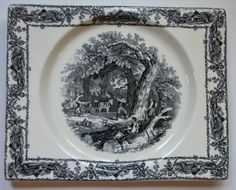 Rectangle Black Transferware Platter Biarritz Platter Tray Mother Children Dog Woodcutter Gardening #nancysdailydish #toile #transferware